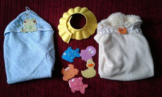 Ręcznik i kocyk z kapturem, rondo do mycia głowy, zabawki maty