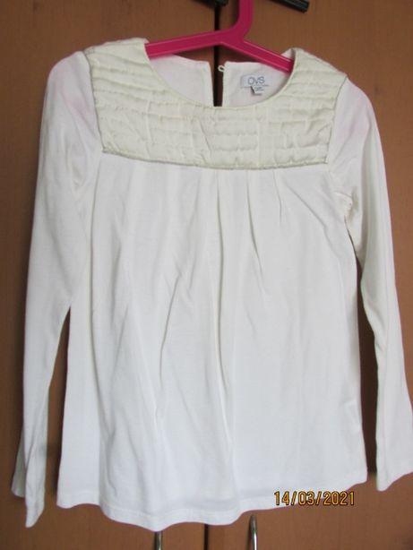 Блузка - футболка з довгим рукавом для дівчинки, кремового кольору