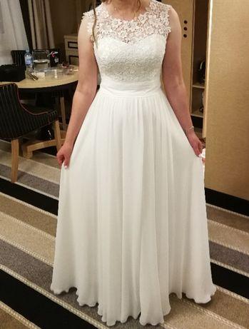 Suknia ślubna rozmiar 38 kolor ecru plus welon, podwiązka i wianek.
