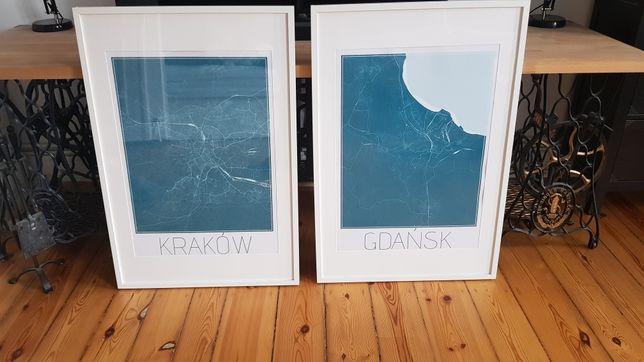 2 wielkie plakaty mapy miast Kraków i Gdańsk 96x56cm -bezpieczna szyba