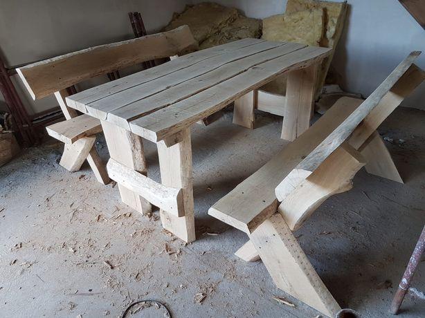 Zestaw ogrodowy, stół dębowy z dwiema ławkami