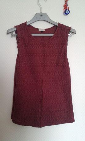 burgundowa bordowa bluzka bez rękawów River Island 36 S