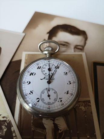 Unikatowy stary  zegarek kieszonkowy  z chronografem antyk Vintage