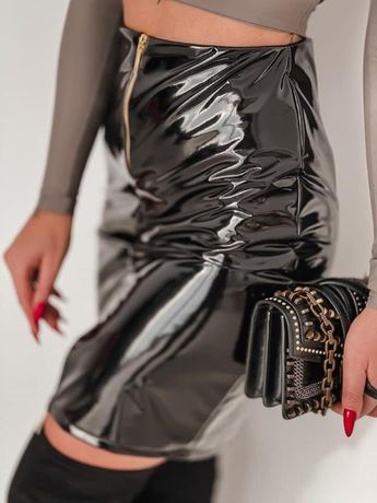 Piękna spódnica lateksowa czarna i camel PRODUKT POLSKI!!!