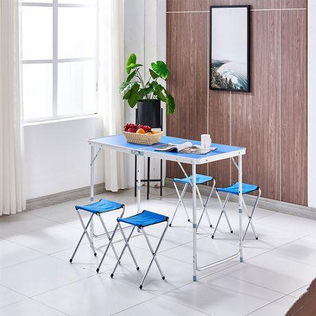 Stół składany 4 stołki turystyczny walizka 120x60