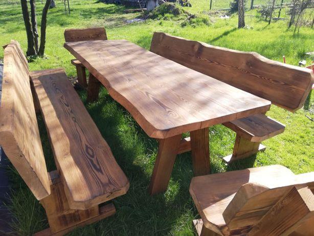 Meble ogrodowe w stylu góralskim z litego drewna bez żywicy