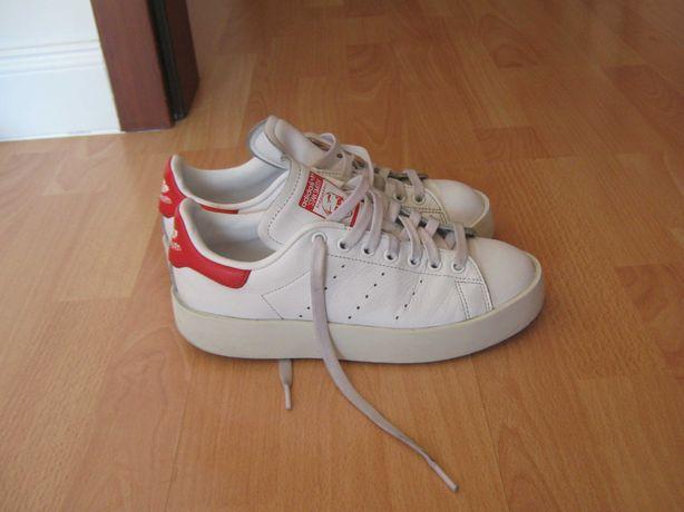 skorzane sneakersy adidas stan smitch platformy 38 jak nowe
