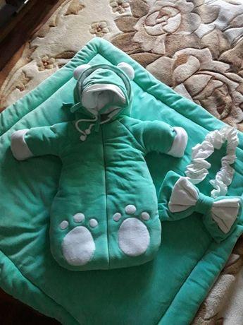 Теплый комплект на выписку для новорожденного