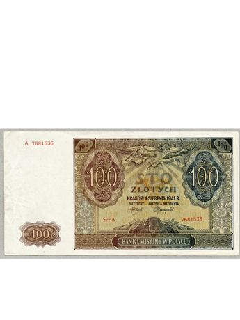 100 zł seria A. Rzadka. Banknot 1941r.