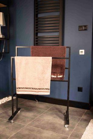Stojak na ręczniki w stylu LOFT Industrial duży czarny łazienkowy