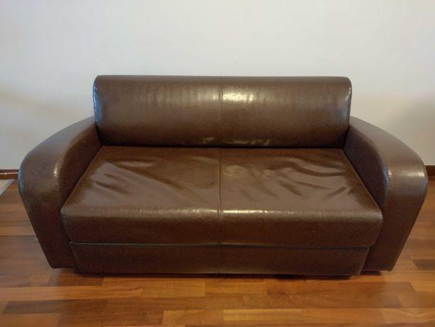Brązowa sofa / kanapa ze skóry wegańskiej, rozkładana, Wrocław