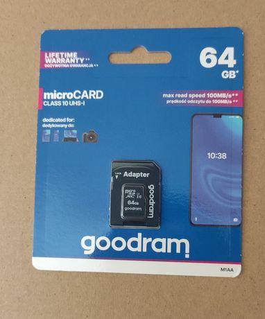 Cartão Micro SD 64Gb Goodram com adaptador