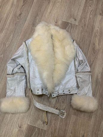 ТОРГ!!! Шикарная кожаная куртка с мехом. Натуральная. Размер 46-48.