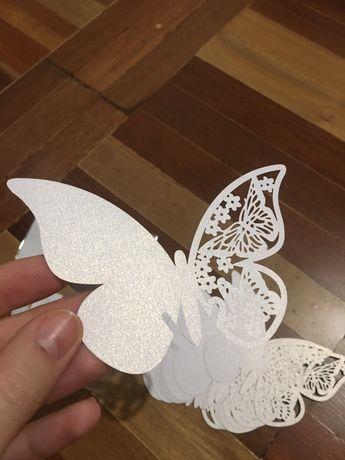 Продам рассадочные карточки бабочки белого и сиреневого цвета