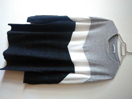 Vestido-camisola de manga comprida, colorblock e oversize