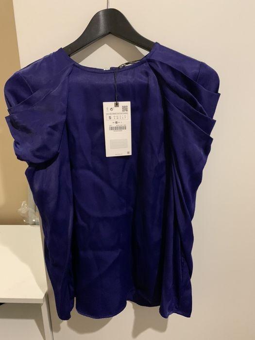 Zara bluzka s 36 aksamitna koszula elegancka biuro nowa Warszawa - image 1