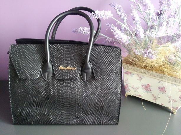 Torebka torba czarna jak nowa struktura tom&eva eko skora elegancka