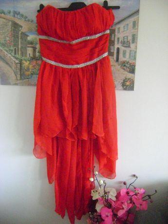 Suknia czerwona zdobiona r.38 stan idealny