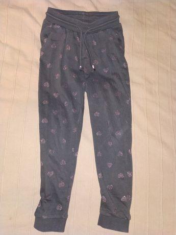 Hm h&m spodnie dresowe joggersy serce brokat 6-8 lat 122-128