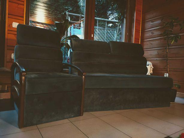 Piękny komplet sofa+fotel, salon, oranżeria