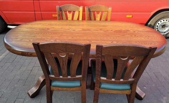 Duży, solidny stół dębowy z 4 krzesłami (siedziska skórzane).