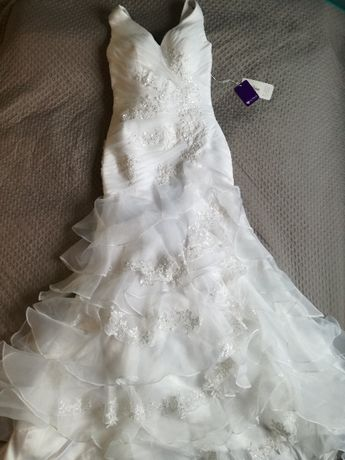 Suknia ślubna - NOWA, linia A, rozm. 38 - 42, dla wysokiej Pani