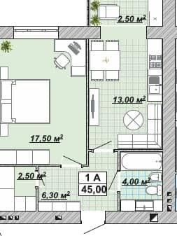 Однокімнатна квартира 45 м2, район Княгинин