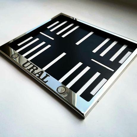 Рамка для мото номера с надписью URAL ( Урал ) крепеж номера мотоцикл