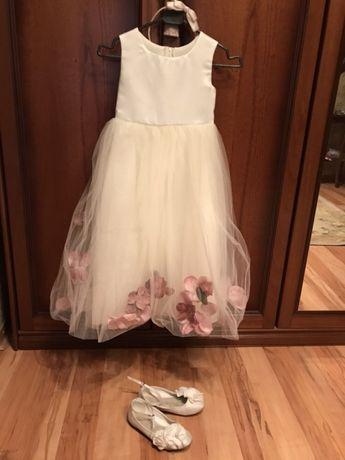 Платье нарядное на выпускной 6-7 лет балетки и обруч в ПОДАРОК