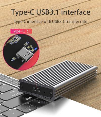 Внешний карман для SSD дисков M.2 NGFF NVMe на USB type-C, USB 3.1/3.0