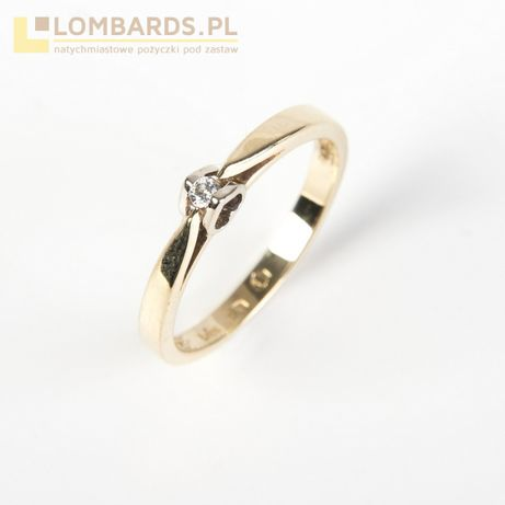 złoty pierścionek z brylantem pr 585 id.46.13.20