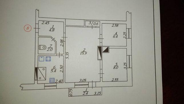 Продам 3-х комнатную квартиру в Кириковке (р-н ж/д вокзал)