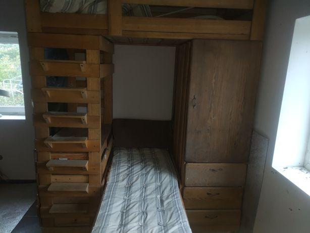 Двухъярусная дубовая кровать+шкаф+письменный стол