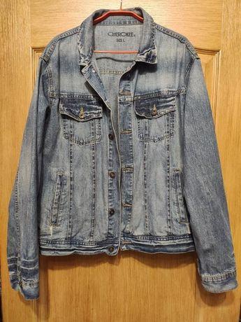 Cherokee мужская джинсовая куртка, пиджак, джинсовка с потертостями, L