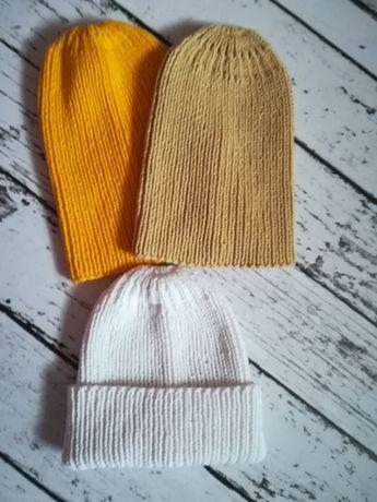 Czapki robione na drutach handmade