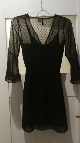 Sukienka czarna mini zwiewna H&M szerokie rękawy sexi impreza XS 34