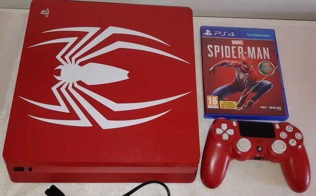 Ps4 Slim 1TB Edição Limitada Spider Man  + Comando + Jogo