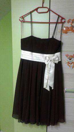 Sukienka brązowa z kokardą rozmiar L