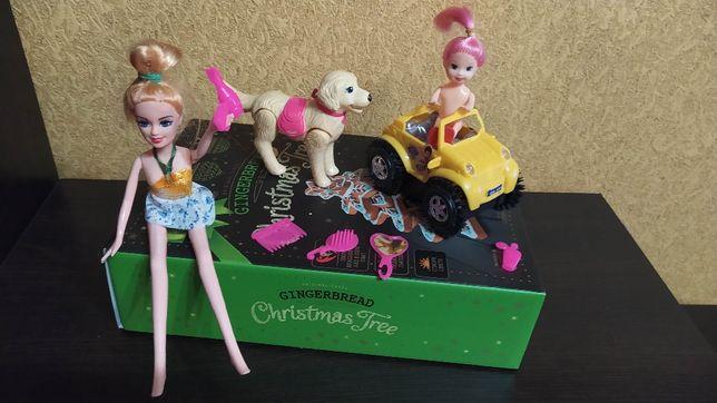 Пакет игрушек. Барби ,дочка с косметикой ,собакой и машиной.