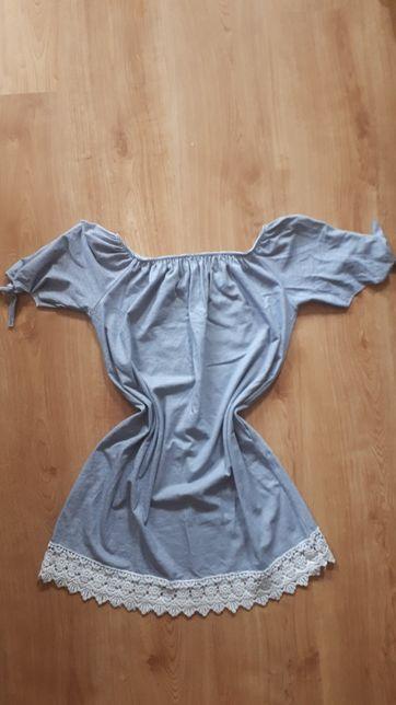 Sukienka hiszpanka biało czarna z koronką owersize uniwersalny rozmiar