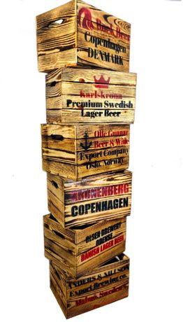 Skrzynka drewniana opalana o wymiarach: 45X30,5X24 cm