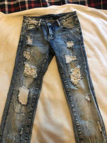 Spodnie jeansy z perłami