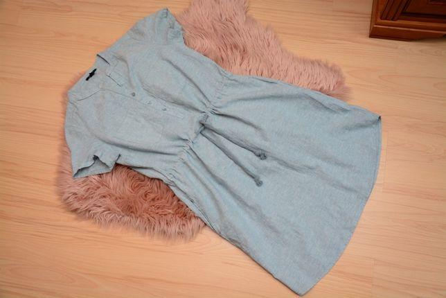 Sukienka lniana 42 XL z krótkim rękawkiem letnia jak nowa