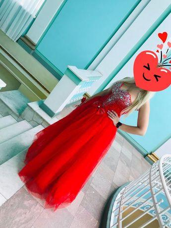 Женское красное вечернее свадебное платье