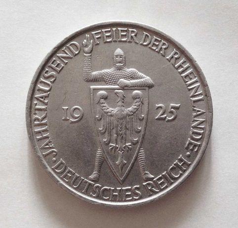 5 марок, 1925 D, Веймарская республика,  1000-летие Рейнланда, серебро