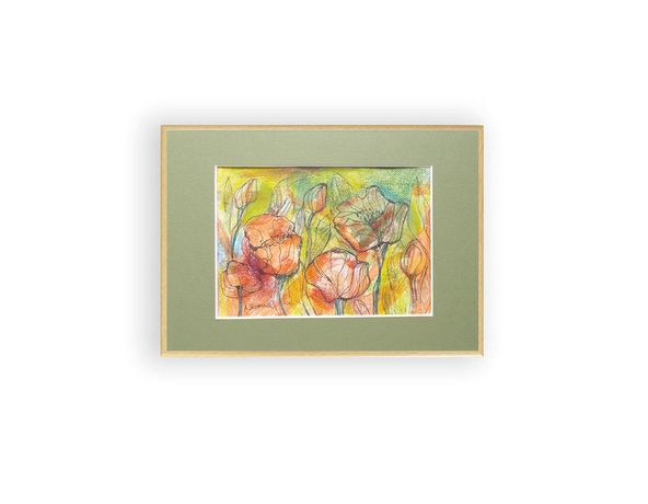 kwiaty akwarela ręcznie malowana, maki rysunek w ramce, ładny szkic