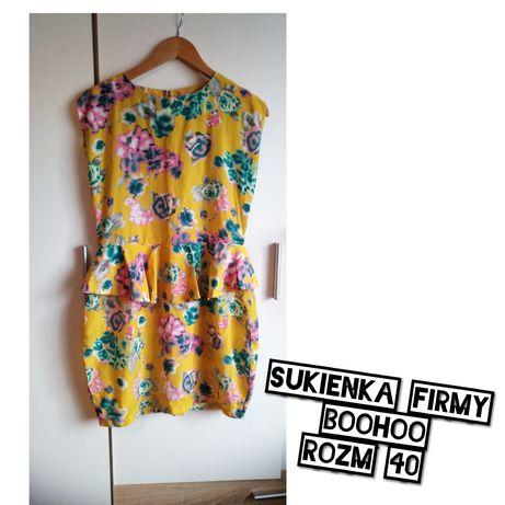 Sukienka z baskinką, musztarda, kwiaty FOLK, rozm 40, szerokie biodra