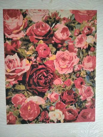 Готовая картина по номерам, розы, цветы