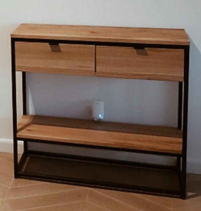 Konsola loft/industrialna.Dwie szuflady . Drewno dębowe.