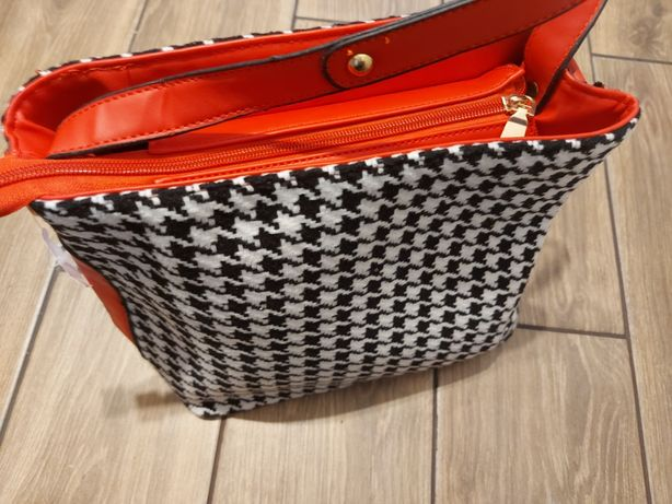 Nowa torebka damska w pepitkę (czerwone zakonczenia)